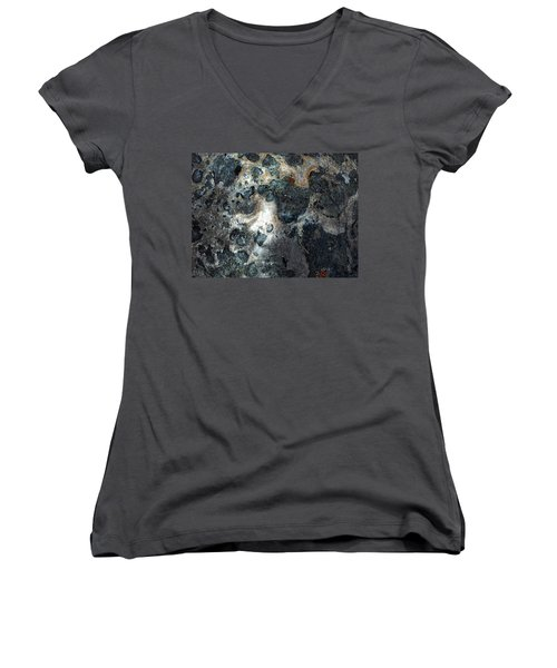 Women's V-Neck T-Shirt (Junior Cut) featuring the photograph Earth Memories - Stone # 8 by Ed Hall