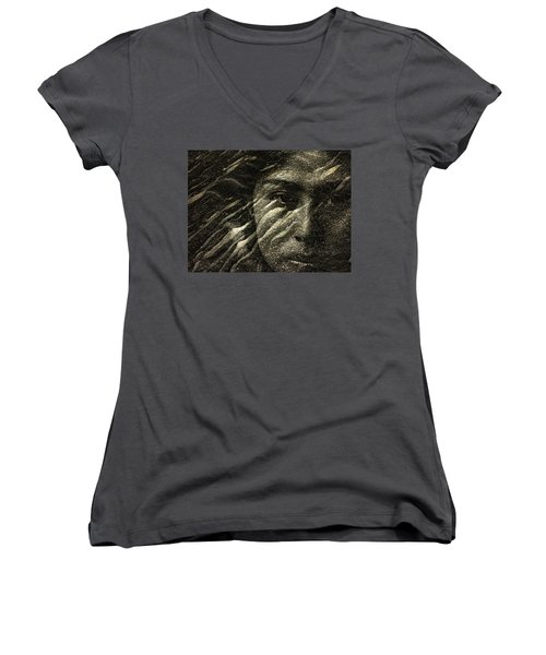 Women's V-Neck T-Shirt (Junior Cut) featuring the photograph Earth Memories - Water Spirit by Ed Hall