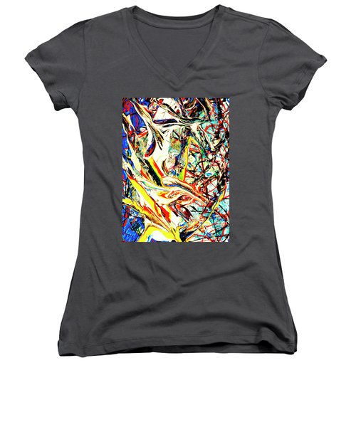 Earth Quaked Women's V-Neck T-Shirt (Junior Cut) by Elf Evans
