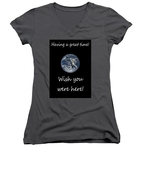 Earth Wish You Were Here Vertical Women's V-Neck T-Shirt