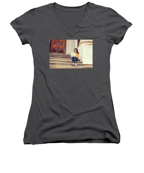 East Indian American College Student Studying In New York Women's V-Neck (Athletic Fit)