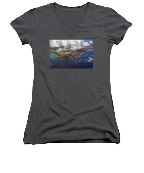 East Oahu From The Air Women's V-Neck (Athletic Fit)