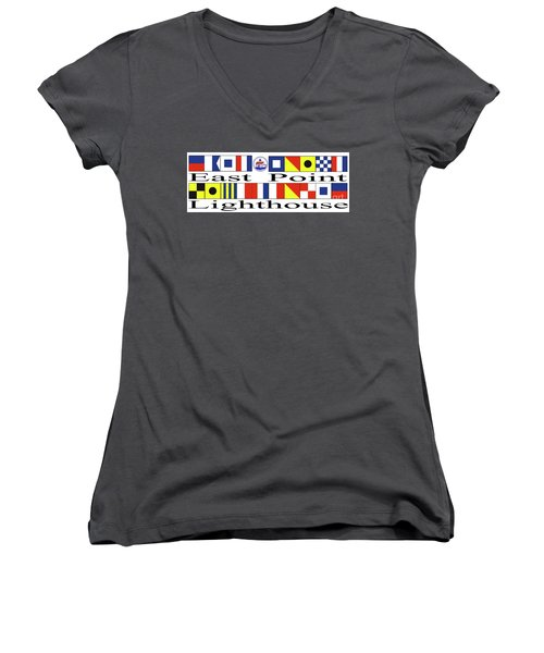 Women's V-Neck T-Shirt (Junior Cut) featuring the digital art East Point Lighthouse Nautical Flags by Nancy Patterson