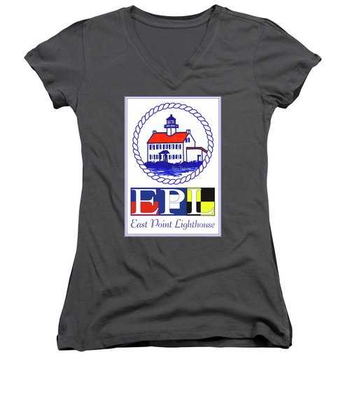 Women's V-Neck T-Shirt (Junior Cut) featuring the digital art East Point Lighthouse Poster - 2 by Nancy Patterson