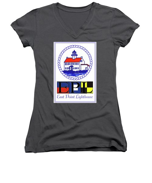 East Point Lighthouse Poster Women's V-Neck T-Shirt (Junior Cut) by Nancy Patterson