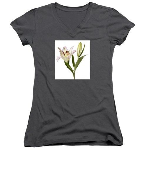 Easter Lilly Women's V-Neck T-Shirt (Junior Cut)