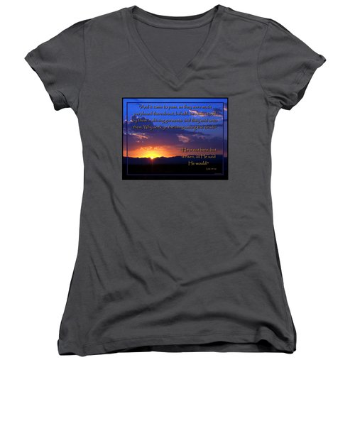 Women's V-Neck T-Shirt (Junior Cut) featuring the photograph Easter Sunrise - He Is Risen by Glenn McCarthy Art and Photography
