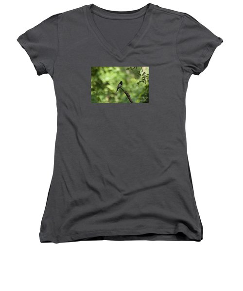 Women's V-Neck T-Shirt (Junior Cut) featuring the photograph Eastern Towhee 20120707_52a by Tina Hopkins