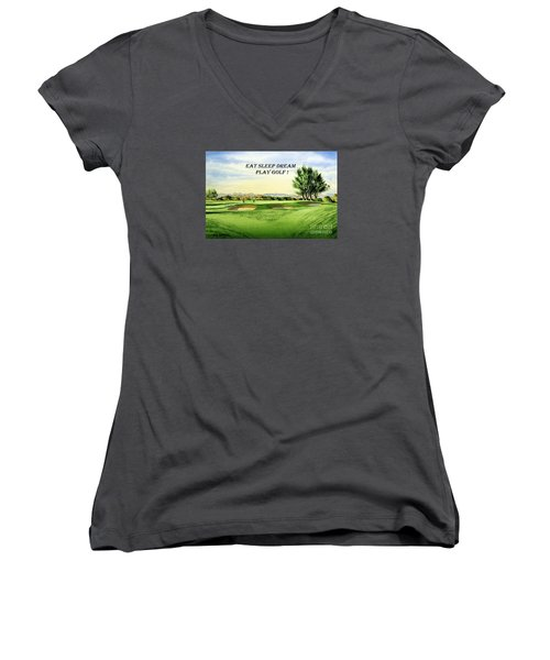 Eat Sleep Dream Play Golf - Carnoustie Golf Course Women's V-Neck T-Shirt (Junior Cut) by Bill Holkham