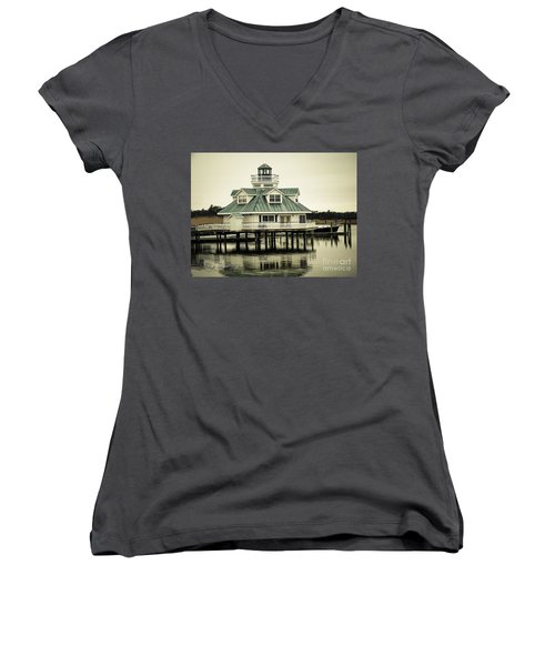 Eating On The River Women's V-Neck T-Shirt (Junior Cut) by Melissa Messick