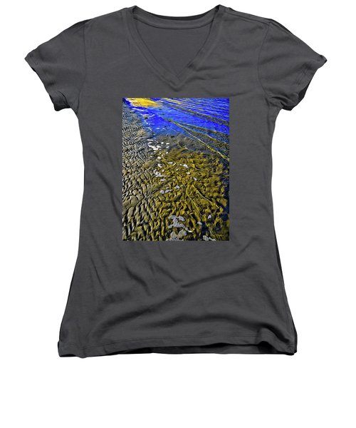 Women's V-Neck featuring the photograph Ebb And Flow by Roxy Hurtubise