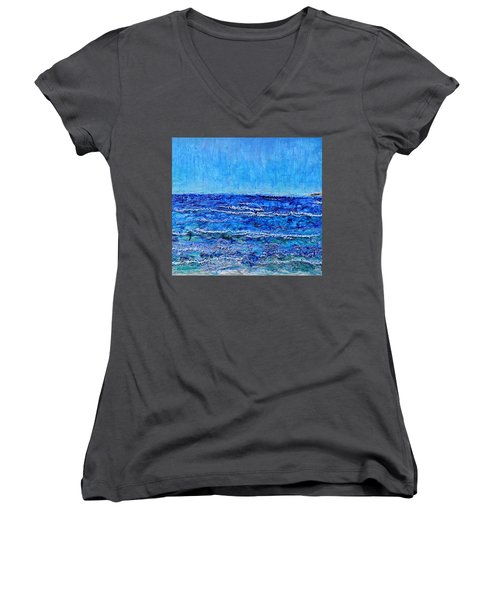 Ebbing Tide Women's V-Neck T-Shirt (Junior Cut) by Regina Valluzzi