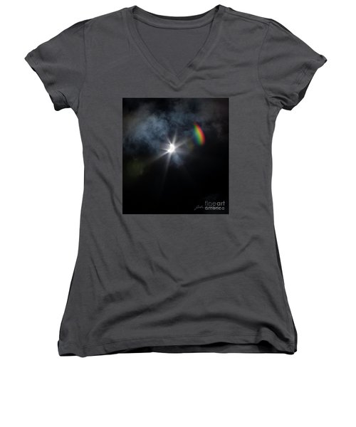 Solar Eclipse 2017 And Rainbow Women's V-Neck (Athletic Fit)