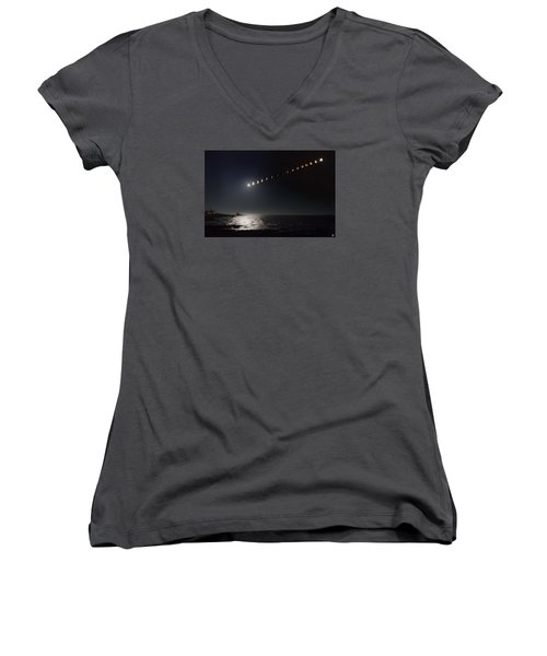 Eclipse Of The Moon Women's V-Neck (Athletic Fit)