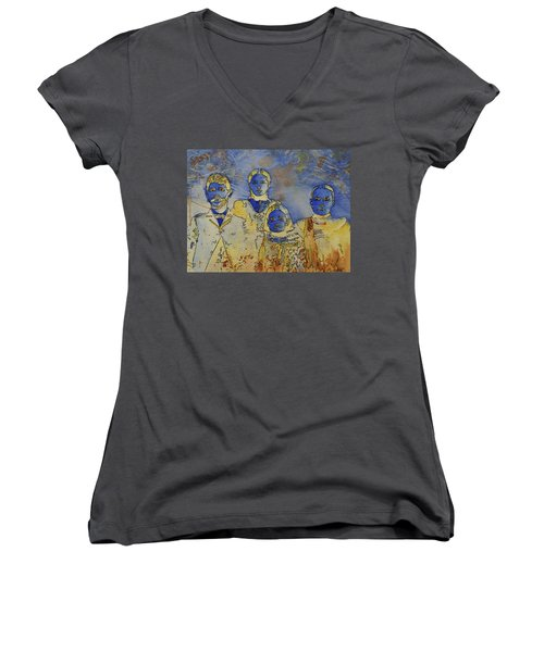 Women's V-Neck T-Shirt (Junior Cut) featuring the painting Ectoplasma 2 by Cynthia Powell