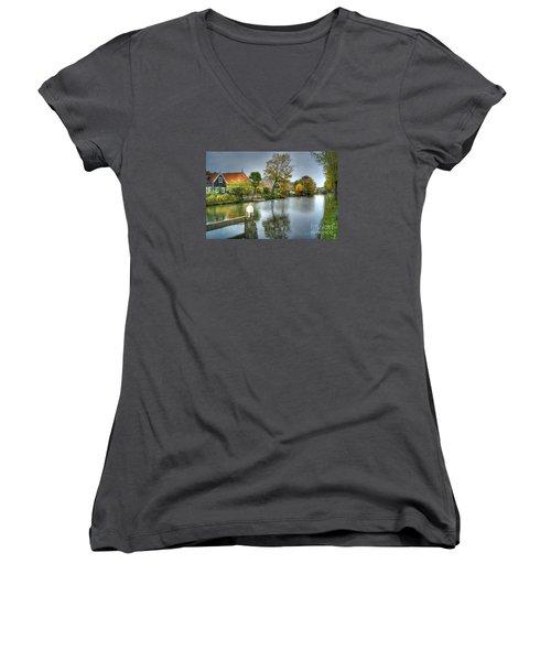 Edam Waterway In Holland Women's V-Neck T-Shirt