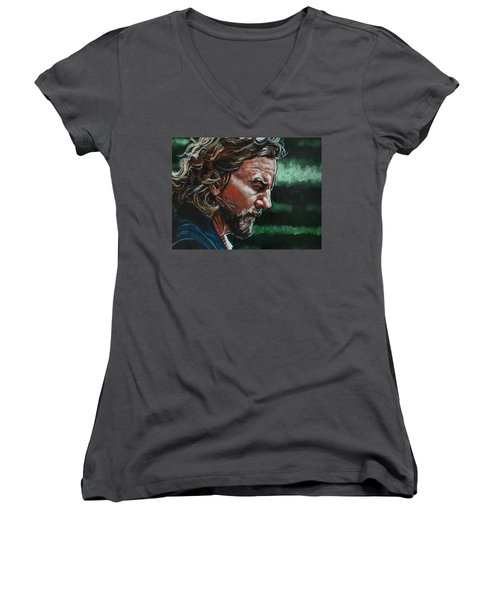 Eddie Vedder Women's V-Neck T-Shirt (Junior Cut) by Joel Tesch