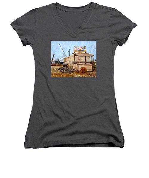 Eddies On The Creek Belford Nj Women's V-Neck T-Shirt