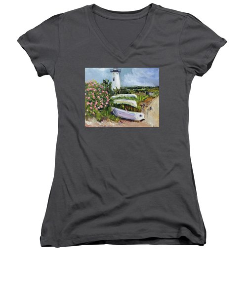 Women's V-Neck T-Shirt (Junior Cut) featuring the painting Edgartown Light And Her Entourage by Michael Helfen