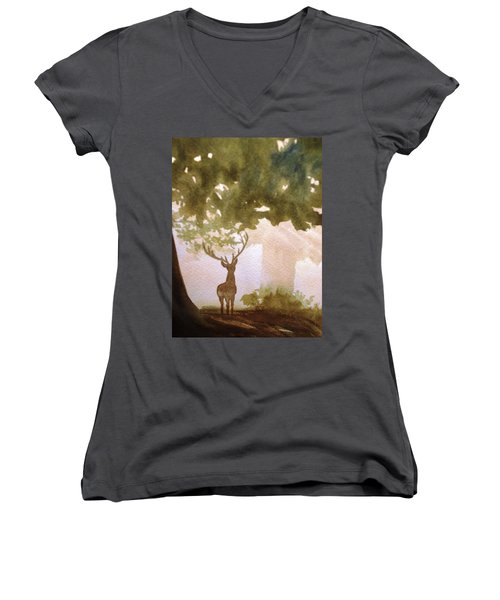 Edge Of The Forrest Women's V-Neck T-Shirt (Junior Cut) by Marilyn Jacobson