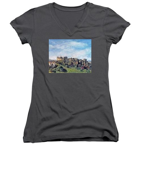 Women's V-Neck T-Shirt (Junior Cut) featuring the painting Edinburgh Castle Bright by Richard James Digance