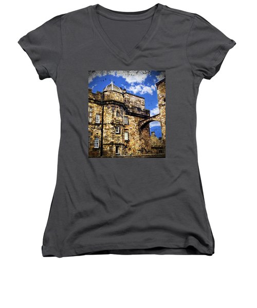 Edinburgh Castle Women's V-Neck (Athletic Fit)