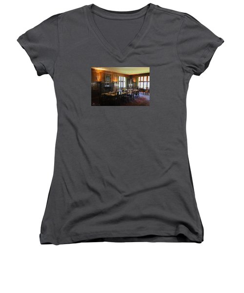 Women's V-Neck T-Shirt (Junior Cut) featuring the photograph Edsel And Eleanor Ford Dining Room by Michael Rucker