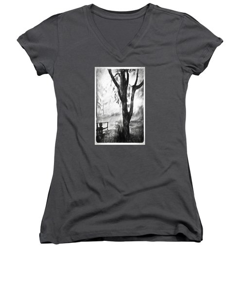 Tree In The Mist Women's V-Neck T-Shirt (Junior Cut) by Rena Trepanier