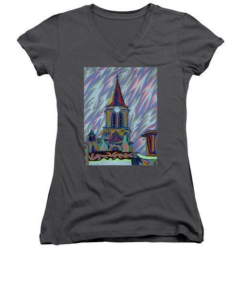 Eglise Onze - Onze Women's V-Neck T-Shirt (Junior Cut) by Robert SORENSEN