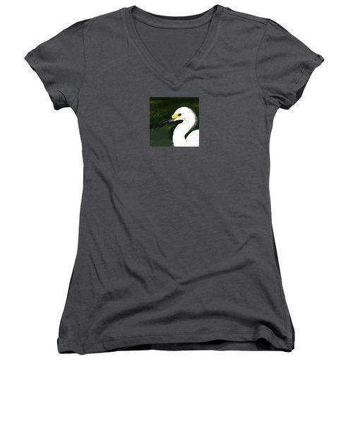 Egret Women's V-Neck T-Shirt (Junior Cut) by Beth Klock