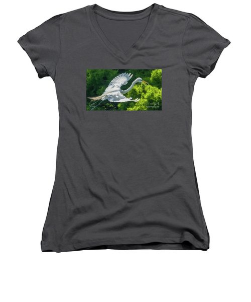 Egret Flying With Twigs Women's V-Neck