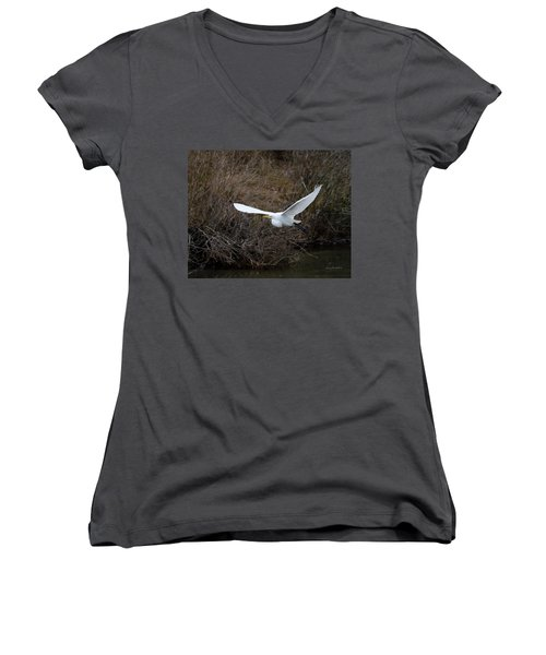 Women's V-Neck T-Shirt (Junior Cut) featuring the photograph Egret In Flight by George Randy Bass
