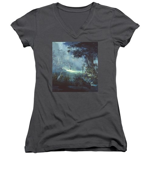Egret In The Shadows Women's V-Neck T-Shirt (Junior Cut) by Michael Humphries