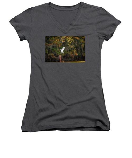 Egret Sanctuary Women's V-Neck T-Shirt