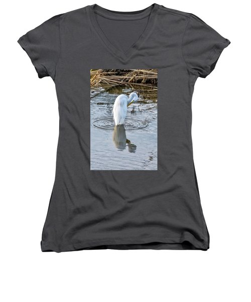 Egret Standing In A Stream Preening Women's V-Neck (Athletic Fit)