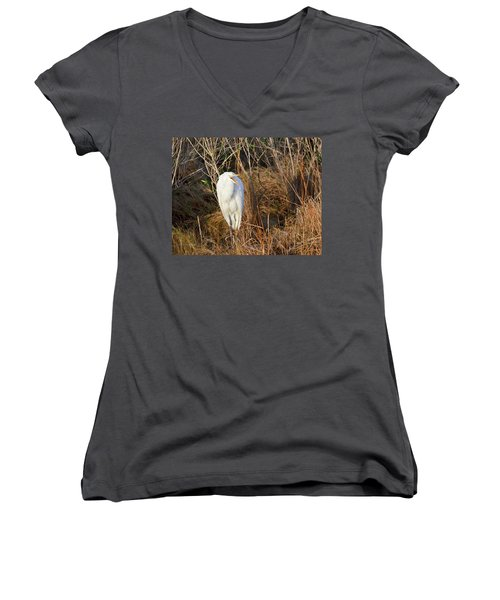 Egret With Something To Say Women's V-Neck T-Shirt (Junior Cut) by George Randy Bass