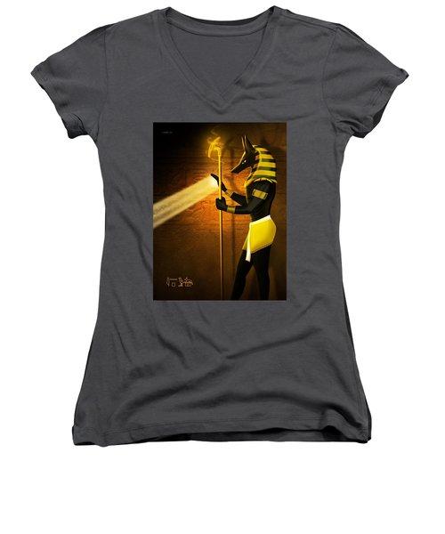 Egyptian God Anubis Women's V-Neck T-Shirt (Junior Cut) by John Wills