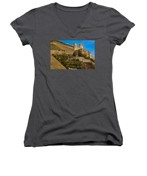 Ehrenfels Castle Ruin Women's V-Neck (Athletic Fit)
