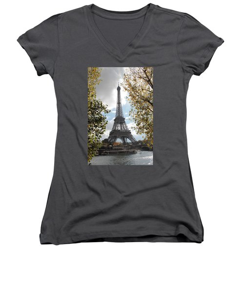 Women's V-Neck T-Shirt (Junior Cut) featuring the photograph Eiffel From Avenue De New York by Christopher Kirby
