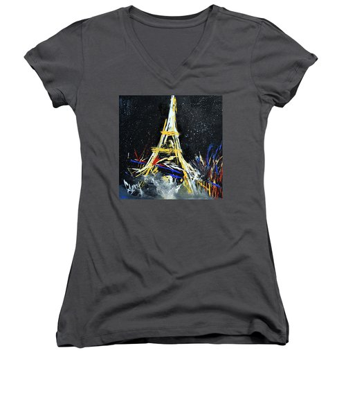 Women's V-Neck T-Shirt (Junior Cut) featuring the painting Eiffel by Gary Smith