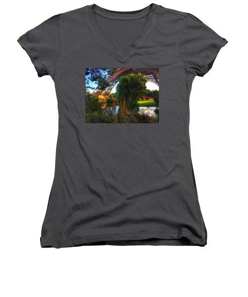 Women's V-Neck T-Shirt (Junior Cut) featuring the photograph Eiffel by Marty Cobcroft