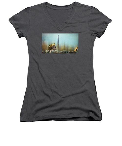 Eiffel Tower 1 Women's V-Neck T-Shirt