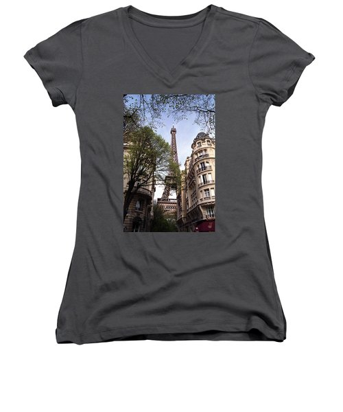 Women's V-Neck T-Shirt (Junior Cut) featuring the photograph Eiffel Tower 2b by Andrew Fare