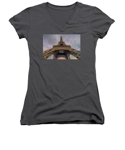Eiffel Tower 5 Women's V-Neck (Athletic Fit)