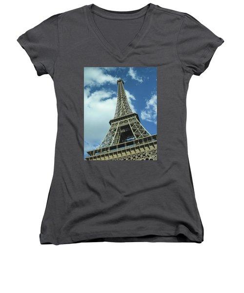Women's V-Neck T-Shirt (Junior Cut) featuring the photograph Eiffel Tower by Allen Sheffield