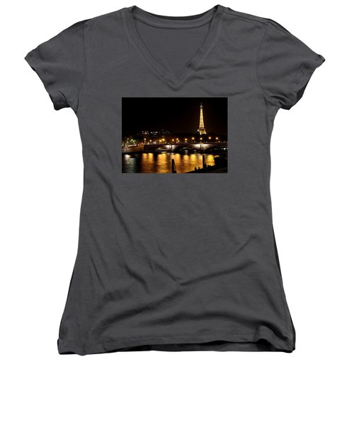 Women's V-Neck T-Shirt (Junior Cut) featuring the photograph Eiffel Tower At Night 1 by Andrew Fare