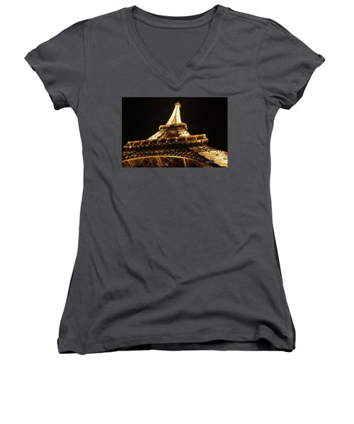Women's V-Neck T-Shirt (Junior Cut) featuring the photograph Eiffel Tower At Night by MGL Meiklejohn Graphics Licensing