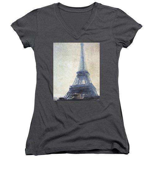 Eiffel Tower Women's V-Neck T-Shirt (Junior Cut) by Catherine Alfidi