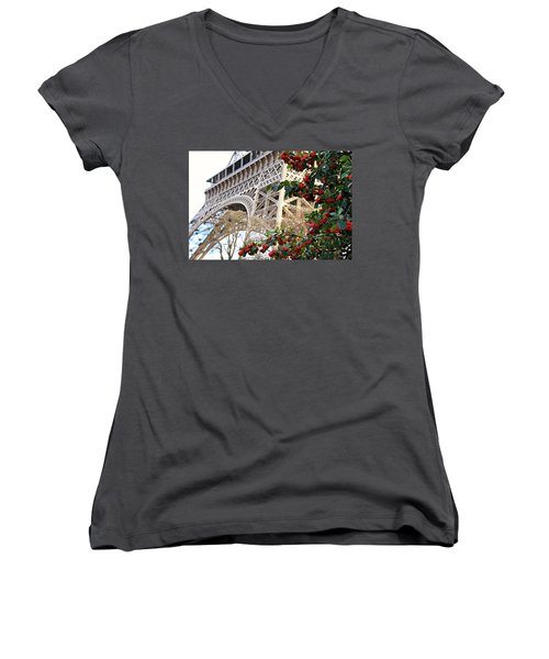Women's V-Neck T-Shirt (Junior Cut) featuring the photograph Eiffel Tower In Winter by Katie Wing Vigil