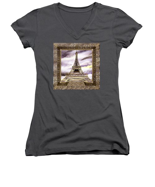 Women's V-Neck T-Shirt featuring the painting Eiffel Tower Laces Iv  by Irina Sztukowski